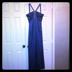Floor length blue formal dress